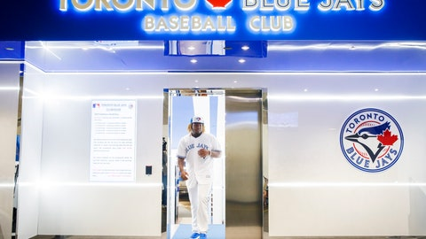 <p>               Toronto Blue Jays rookie Vladimir Guerrero Jr. walks out of the clubhouse to speak at a news conference before his major league debut against the Oakland Athletics in a baseball game Toronto, Friday April 26, 2019. (Mark Blinch/The Canadian Press via AP)             </p>