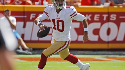 <p>               FILE - In this Sept. 23, 2018, file photo, San Francisco 49ers quarterback Jimmy Garoppolo runs with the ball during the first half of the team's NFL football game against the Kansas City Chiefs in Kansas City, Mo. Garoppolo has resumed throwing and taking drop backs as he rehabilitates from a major knee injury that derailed his first full season as San Francisco's starting quarterback. The process of coming back is going smoothly and Garoppolo hopes to be able to take part in seven-on-seven drills when the 49ers begin OTAs next month and be fully cleared by the time training camp starts in late July. (AP Photo/Charlie Riedel, File)             </p>