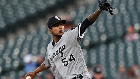 <p>               Chicago White Sox pitcher Ervin Santana throws against the Baltimore Orioles in the first inning of a baseball game, Wednesday, April 24, 2019, in Baltimore. (AP Photo/Gail Burton)             </p>