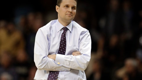 "<p>               FILE - In this Jan. 20, 2018, file photo, LSU coach Will Wade watches from the sideline during the second half of the team's NCAA college basketball game against Vanderbilt in Nashville, Tenn. LSU officials say their first meeting with suspended coach Wade has taken place but that there is not yet a resolution regarding Wade's long-term status. A written statement from the university says ""it is unlikely LSU makes any decisions today regarding Coach Wade."" (AP Photo/Mark Humphrey, File)             </p>"