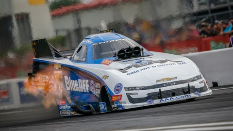 <p>               In this photo provided by the NHRA, John Force drives in Funny Car qualifying at the Mopar Express Lane NHRA SpringNationals drag races at Houston Raceway Park on Friday, April 12, 2019, in Baytown, Texas. (Randy Anderson/NHRA via AP)             </p>