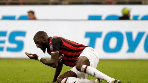 <p>               AC Milan's Tiemoue Bakayoko reacts during the Italian Cup, second leg semifinal soccer match between AC Milan and Lazio, at the San Siro stadium, in Milan, Italy, Wednesday, April 24, 2019. (AP Photo/Luca Bruno)             </p>