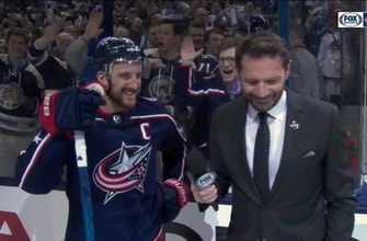 Nick Foligno is all smiles after the Blue Jackets' first ever playoff series win