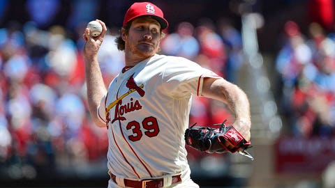 Apr 20, 2019; St. Louis, MO, USA; St. Louis Cardinals starting pitcher Miles Mikolas (39) pitches during the first inning against the New York Mets at Busch Stadium. Mandatory Credit: Jeff Curry-USA TODAY Sports