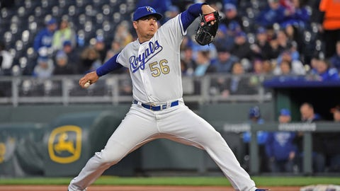 Apr 12, 2019; Kansas City, MO, USA; Kansas City Royals starting pitcher Brad Keller (56) delivers a pitch during the second inning against the Cleveland Indians at Kauffman Stadium. Mandatory Credit: Peter G. Aiken/USA TODAY Sports