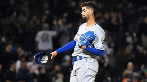 Apr 16, 2019; Chicago, IL, USA; Kansas City Royals relief pitcher Jorge Lopez (28) reacts after giving up two consecutive home runs to the Chicago White Sox during the fifth inning at Guaranteed Rate Field. Mandatory Credit: Mike DiNovo-USA TODAY Sports