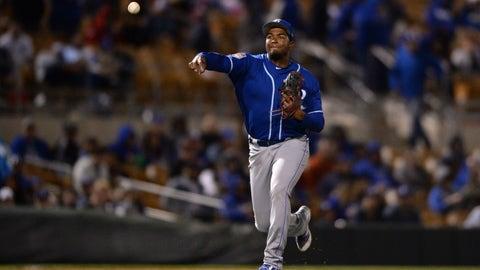 Mar 8, 2019; Phoenix, AZ, USA; Kansas City Royals third baseman Kelvin Gutierrez (75) throw to first base on a groundout by Los Angeles Dodgers infielder Matt Beaty (not pictured) during the seventh inning at Camelback Ranch. Mandatory Credit: Orlando Ramirez-USA TODAY Sports