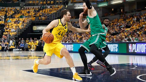 Apr 21, 2019; Indianapolis, IN, USA; Indiana Pacers forward Bojan Bogdanovic (44) dribbles the ball as Boston Celtics center Aron Baynes (43) defends during the first quarter in game four of the first round of the 2019 NBA Playoffs at Bankers Life Fieldhouse. Mandatory Credit: Brian Spurlock-USA TODAY Sports