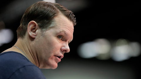 FILE- In this Feb. 27, 2019, file photo, Indianapolis Colts general manager Chris Ballard speaks during a new conference at the NFL football scouting combine in Indianapolis. Ballard enjoys these final days before the NFL draft. He pores through the tapes, meets with coaches and scouts and constantly debates where each college prospect belongs on the Colts' board. Some see this annual ritual as a tedious, emotional grind. Ballard savors every precious moment as he prepares to step into the biggest ring of the offseason. (AP Photo/Michael Conroy, File)