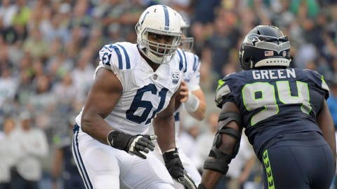 Aug 9, 2018; Seattle, WA, USA; Indianapolis Colts tackle J'Marcus Webb (61) defends against Seattle Seahawks defensive end Rasheem Green (94) during a preseason game at CenturyLink Field. The Colts defeated the Seahawks 19-17. Mandatory Credit: Kirby Lee-USA TODAY Sports