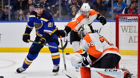Apr 4, 2019; St. Louis, MO, USA; St. Louis Blues left wing Alexander Steen (20) shoots and scores against Philadelphia Flyers goaltender Carter Hart (79) during the third period at Enterprise Center. Mandatory Credit: Jeff Curry-USA TODAY Sports