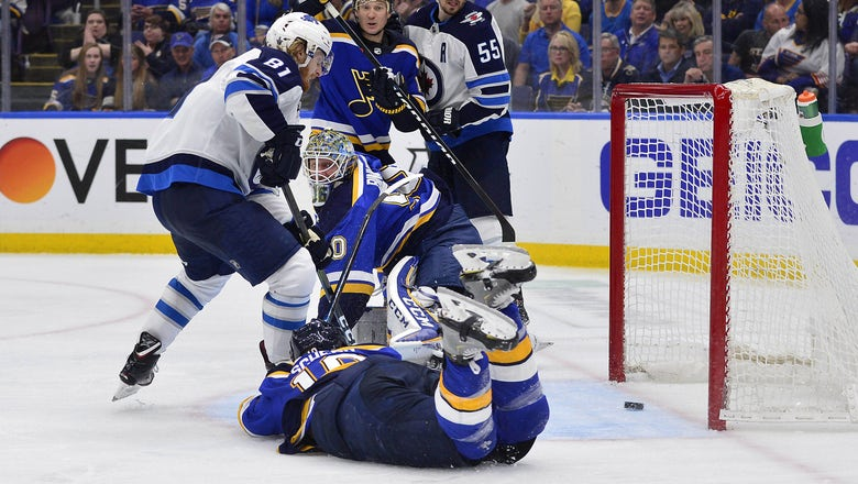 Blues drop both home games as Jets tie series with 2-1 overtime win in Game 4