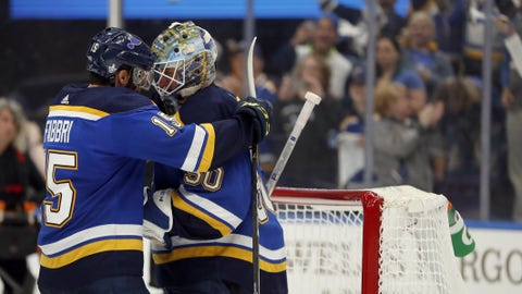St. Louis Blues' Robby Fabbri, left, and goaltender Jordan Binnington celebrate after defeating the Winnipeg Jets in Game 6 of an NHL first-round hockey playoff series, Saturday, April 20, 2019, in St. Louis. (AP Photo/Jeff Roberson)