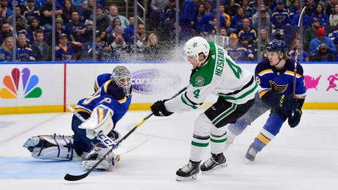 Apr 27, 2019; St. Louis, MO, USA; Dallas Stars defenseman Miro Heiskanen (4) shoots and scores against St. Louis Blues goaltender Jordan Binnington (50) during the first period in game two of the second round of the 2019 Stanley Cup Playoffs at Enterprise Center. Mandatory Credit: Jeff Curry-USA TODAY Sports