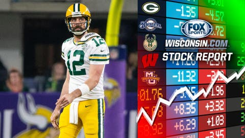 Aaron Rodgers, Packers quarterback (↑ UP or ↓ DOWN)