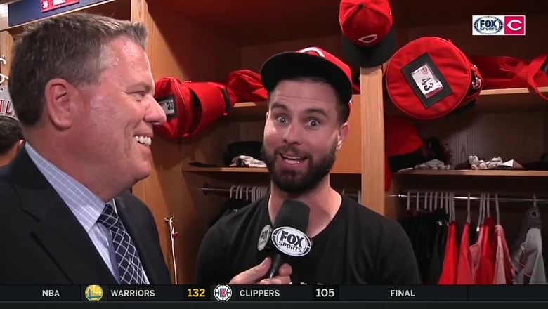 Jesse Winker explains his and Joey Votto's trust-fall homer celebrations
