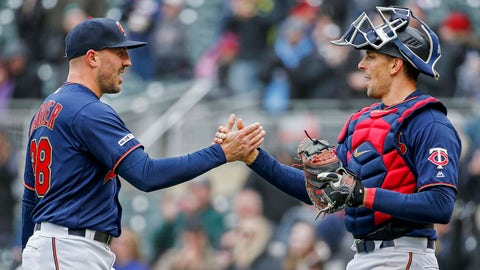 Apr 13, 2019; Minneapolis, MN, USA; Minnesota Twins relief pitcher Blake Parker (38) celebrates with catcher Jason Castro (15) the victory over the Detroit Tigers at Target Field. Mandatory Credit: Bruce Kluckhohn-USA TODAY Sports