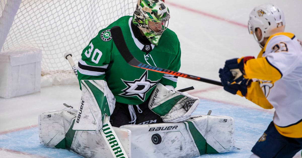 3b3e923eb03 Bishop now the Stars goalie trying to beat Blues in playoffs | FOX Sports