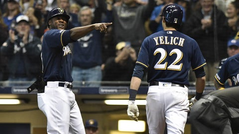 Apr 16, 2019; Milwaukee, WI, USA; Milwaukee Brewers outfielder Lorenzo Cain (6) celebrates at home plate with outfielder Christian Yelich (22) after Yelich hit a home run in the fifth inning against the St. Louis Cardinals at Miller Park. Mandatory Credit: Michael McLoone-USA TODAY Sports