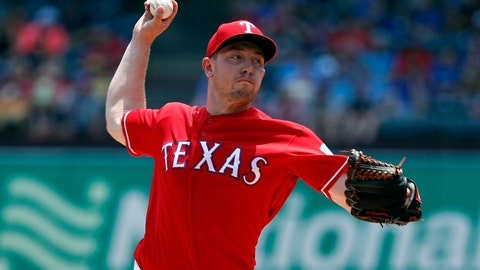 <p>               Texas Rangers' Adrian Sampson throws to the Seattle Mariners in the fourth inning of a baseball game in Arlington, Texas, Wednesday, May 22, 2019. (AP Photo/Tony Gutierrez)             </p>
