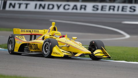 <p>               Helio Castroneves, of Brazil, drives through a turn during practice for the Indy GP IndyCar auto race at Indianapolis Motor Speedway, Friday, May 10, 2019 in Indianapolis. (AP Photo/Michael Conroy)             </p>