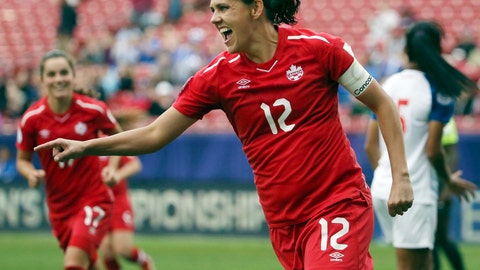 <p>               FILE - In this Oct. 14, 2018, file photo, Canada forward Christine Sinclair celebrates after scoring a goal in the second half of a soccer match at the CONCACAF women's World Cup qualifying tournament against Panama in Frisco, Texas. (AP Photo/Andy Jacobsohn, File)             </p>