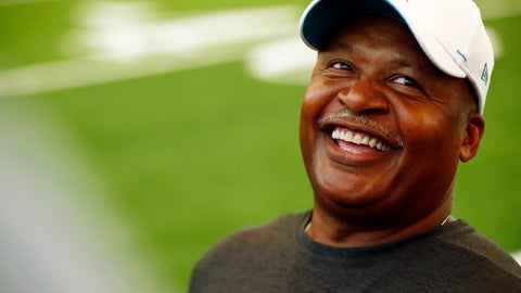 <p>               Miami Dolphins assistant head coach Jim Caldwell laughs during NFL rookie camp on Thursday, May 9, 2019, in Davie, Fla. (AP Photo/Brynn Anderson)             </p>