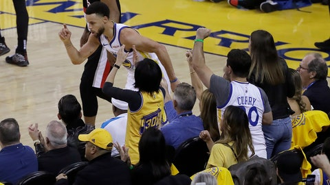 <p>               Golden State Warriors guard Stephen Curry celebrates in front of fans after scoring against the Portland Trail Blazers during the first half of Game 1 of the NBA basketball playoffs Western Conference finals in Oakland, Calif., Tuesday, May 14, 2019. (AP Photo/Jeff Chiu)             </p>