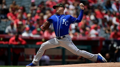 <p>               Kansas City Royals starting pitcher Danny Duffy throws to the plate during the second inning of a baseball game against the Los Angeles Angels, Sunday, May 19, 2019, in Anaheim, Calif. (AP Photo/Mark J. Terrill)             </p>
