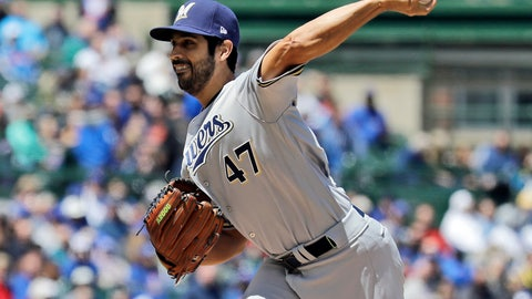 <p>               Milwaukee Brewers starting pitcher Gio Gonzalez throws against the Chicago Cubs during the first inning of a baseball game Friday, May 10, 2019, in Chicago. (AP Photo/Nam Y. Huh)             </p>