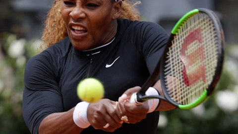 <p>               Serena Williams, of the United States, serves the ball to Sweden's Rebecca Peterson during their match at the Italian Open tennis tournament, in Rome, Monday, May, 13, 2019. (AP Photo/Gregorio Borgia)             </p>