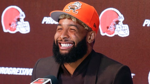 <p>               FLE - In this April 1, 2019, file photo, Cleveland Browns' Odell Beckham answers questions during a news conference in Berea, Ohio. Odell Beckham Jr.'s got a new team and a new ride. The star wide receiver has purchased a tricked-out, orange Rolls Royce complete with a pop-up hood ornament that features a miniaturized model of him in a Browns uniform making one of the one-handed catches he became known for while with the Giants. (AP Photo/Ron Schwane, File)             </p>
