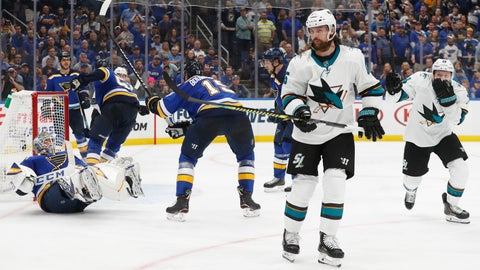 <p>               San Jose Sharks defenseman Erik Karlsson (65), of Sweden, skates away after scoring the winning goal past St. Louis Blues goaltender Jordan Binnington, left, during overtime in Game 3 of the NHL hockey Stanley Cup Western Conference final series Wednesday, May 15, 2019, in St. Louis. The Sharks won 5-4 to take a 2-1 lead in the series. (AP Photo/Jeff Roberson)             </p>