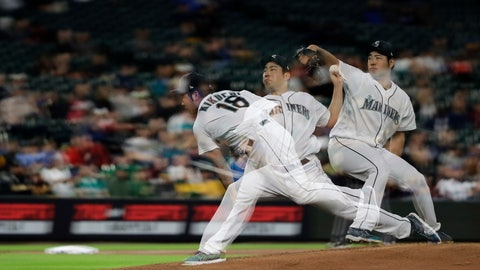 <p>               In this multiple-exposure photo, Seattle Mariners starting pitcher Yusei Kikuchi throws against the Oakland Athletics during the sixth inning of a baseball game, Monday, May 13, 2019, in Seattle. (AP Photo/Ted S. Warren)             </p>