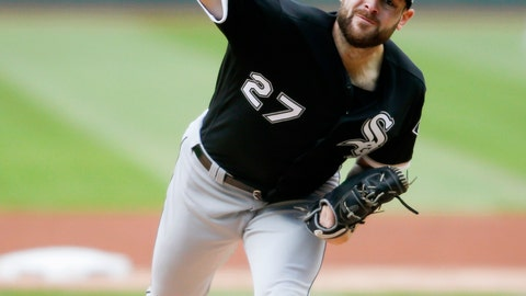 <p>               Chicago White Sox starting pitcher Lucas Giolito delivers against the Cleveland Indians during the first inning of a baseball game, Tuesday, May 7, 2019, in Cleveland. (AP Photo/Ron Schwane)             </p>