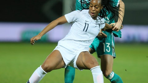 <p>               FILE - In this Thursday, Feb. 28, 2019 file photo, France forward Marie-Antoinette Katoto challenges for the ball with Germany midfielder Sara Dabritz during a women's international friendly soccer match between France and Germany at Francis-le-Basser stadium in Laval, western France. Coach Corinne Diacre has defended her decision to leave out Paris Saint-Germain striker Marie-Antoinette Katoto from France Women's World Cup squad. France will host the tournament from June 7, 2019 to July 7, 2019. (AP Photo/David Vincent, File)             </p>