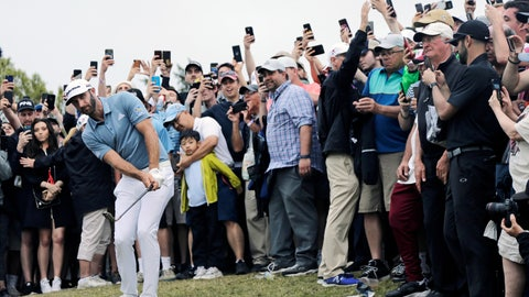 <p>               Dustin Johnson hits out of the rough on the 18th hole during the final round of the PGA Championship golf tournament, Sunday, May 19, 2019, at Bethpage Black in Farmingdale, N.Y. (AP Photo/Seth Wenig)             </p>