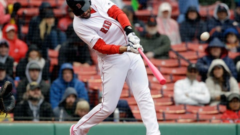<p>               Boston Red Sox's J.D. Martinez hits a home run off a pitch by Seattle Mariners' Marco Gonzales during the first inning of a baseball game at Fenway Park, Sunday, May 12, 2019, in Boston. (AP Photo/Steven Senne)             </p>