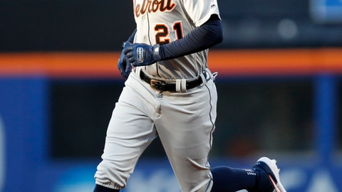 <p>               Detroit Tigers' JaCoby Jones (21) runs on his second-inning two-run home run in a baseball game against the New York Mets, Friday, May 24, 2019, in New York. (AP Photo/Kathy Willens)             </p>
