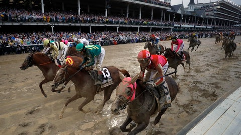 <p>               Flavien Prat ride Country House, left, to the finish line during the 145th running of the Kentucky Derby horse race at Churchill Downs Saturday, May 4, 2019, in Louisville, Ky. Country House was declared the winner after Maximum Security was disqualified following a review by race stewards. (AP Photo/Matt Slocum)             </p>