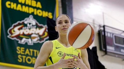 <p>               Seattle Storm's Sue Bird tosses a basketball as she waits to be photographed at the basketball team's media day Monday, May 13, 2019, in Seattle. The Storm is the defending WNBA champion. (AP Photo/Elaine Thompson)             </p>