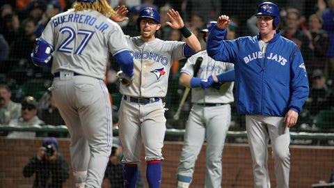 <p>               Toronto Blue Jays' Eric Sogard, center, and Trent Thornton, right, wait at home plate for Vladimir Guerrero Jr. (27) after he hit a three-run home run against the San Francisco Giants during the sixth inning of a baseball game in San Francisco, Tuesday, May 14, 2019. (AP Photo/Tony Avelar)             </p>