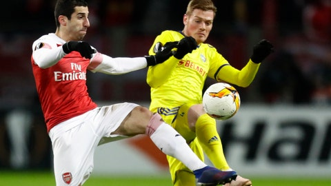 <p>               FILE - In this Thursday, Feb. 14, 2019 file photo Arsenal's Henrikh Mkhitaryan, left, duels for the ball with Bate's Aleksandar Filipovic during the Europa League round of 32 first leg soccer match between Bate and Arsenal at the Borisov-Arena in Borisov, Belarus. The choice of Baku as host of the Europa League final provided Arsenal with further grounds for discontent Tuesday when Mkhitaryan, one of the team's most talented players, pulled out of the game for political reasons. (AP Photo/Sergei Grits, File)             </p>