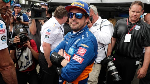 <p>               Fernando Alonso, of Spain, watches the final qualifier during qualifications for Indianapolis 500 IndyCar auto race at Indianapolis Motor Speedway, Sunday, May 19, 2019, in Indianapolis. Alonzo failed to make the field for the race. (AP Photo/Michael Conroy)             </p>