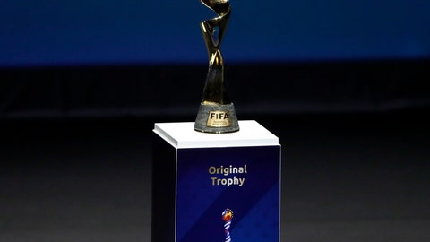 <p>               FILE - In this Dec. 8, 2018, file photo, the Women's World Cup trophy is displayed at the women's soccer 2019 World Cup draw, in Boulogne-Billancourt, outside Paris. Fans planning to attend the Women's World Cup in France are finding out that the seats they bought might not be together. Tickets were made available to print Monday, May 20, 2019, and ticket holders learned that their groups were sometimes split up in separate rows and even sections, even families with young children. (AP Photo/Christophe Ena, File)             </p>