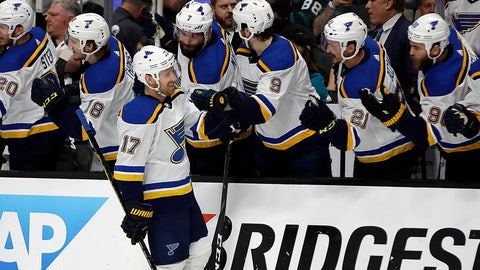 <p>               St. Louis Blues' Jaden Schwartz (17) is congratulated after scoring a goal against the San Jose Sharks in the first period in Game 2 of the NHL hockey Stanley Cup Western Conference finals Monday, May 13, 2019, in San Jose, Calif. (AP Photo/Ben Margot)             </p>
