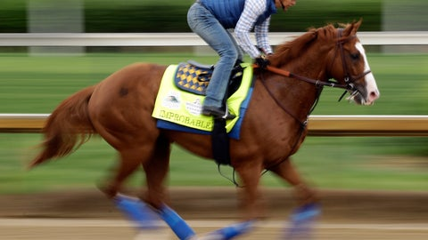 <p>               Kentucky Derby entrant Improbable runs during a workout at Churchill Downs Thursday, May 2, 2019, in Louisville, Ky. The 145th running of the Kentucky Derby is scheduled for Saturday, May 4. (AP Photo/Charlie Riedel)             </p>