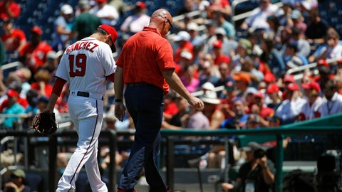 <p>               Washington Nationals starting pitcher Anibal Sanchez (19) walks off the field alongside head athletic trainer Paul Lessard after being relieved in the second inning of a baseball game against the New York Mets, Thursday, May 16, 2019, in Washington. (AP Photo/Patrick Semansky)             </p>