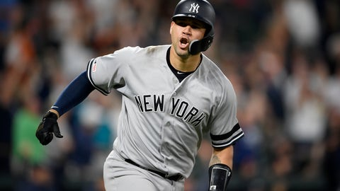 <p>               New York Yankees' Gary Sanchez reacts as he heads to first to round the bases after hitting a three-run home run during the ninth inning of a baseball game against the Baltimore Orioles, Monday, May 20, 2019, in Baltimore. (AP Photo/Nick Wass)             </p>