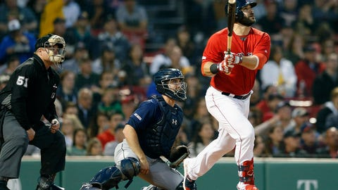 <p>               Boston Red Sox's Mitch Moreland, right, follows through on his three-run home run in front of Seattle Mariners' Tom Murphy during the third inning of a baseball game in Boston, Friday, May 10, 2019. (AP Photo/Michael Dwyer)             </p>